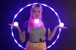 Bella with glow hoop and glow juggle balls