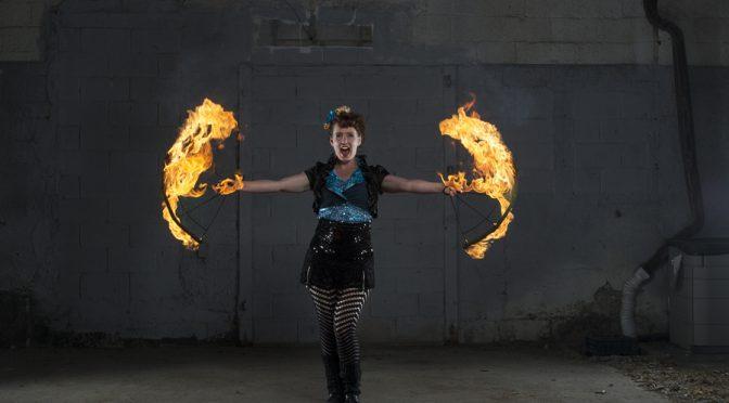 toronto fire performer lucy loop fire fans hug