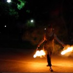 fire poi at nightime