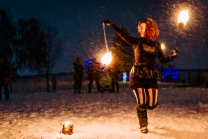 Lucy Loop fire poi dancing in Barrie