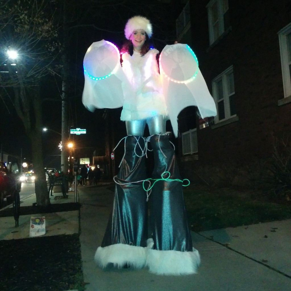 Winter Snow Fairy on stilts