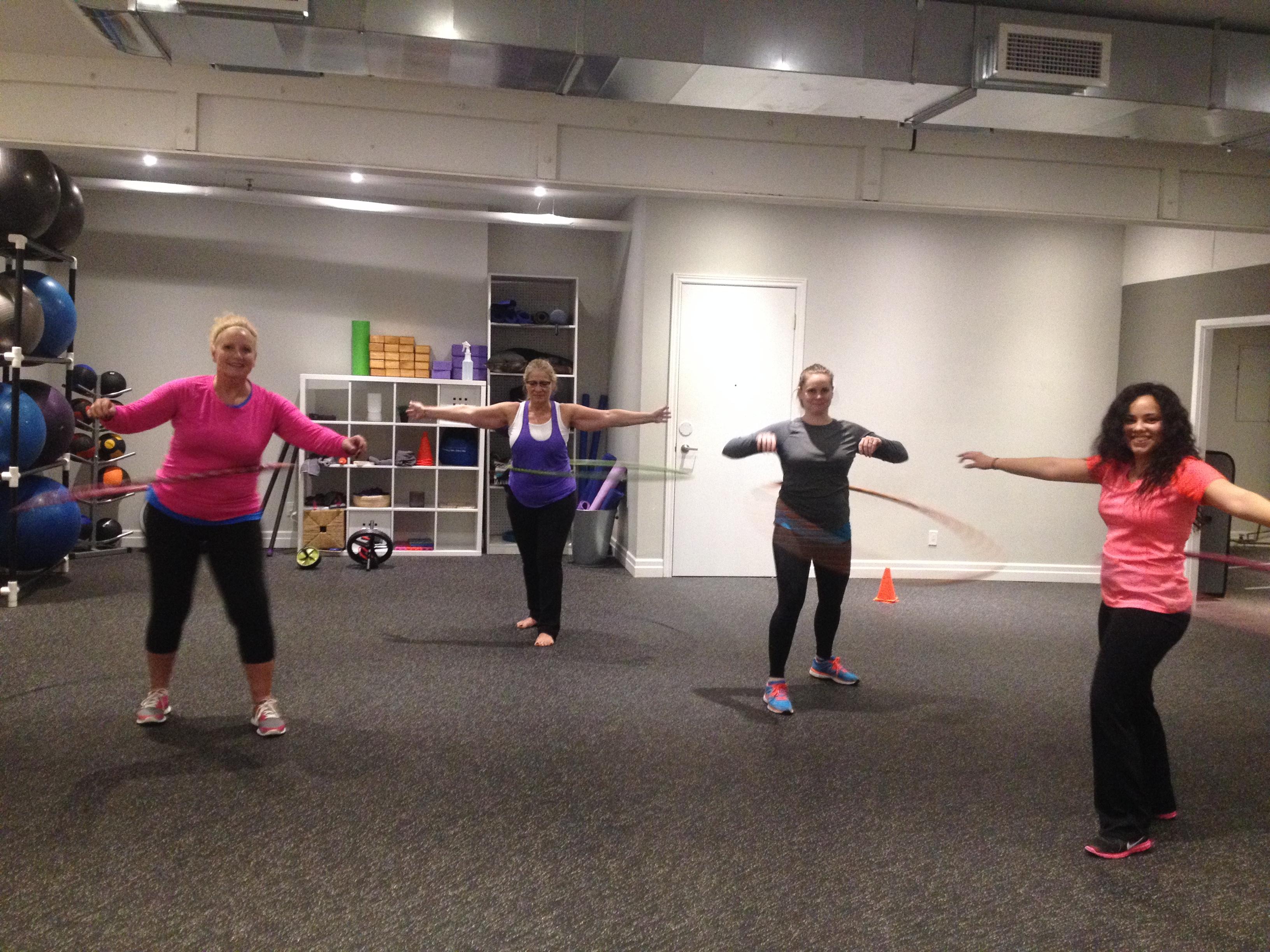 hula hoop class at mibody fitness