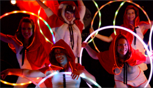 Hoop you art world expo performance red hoods and led HOOPS
