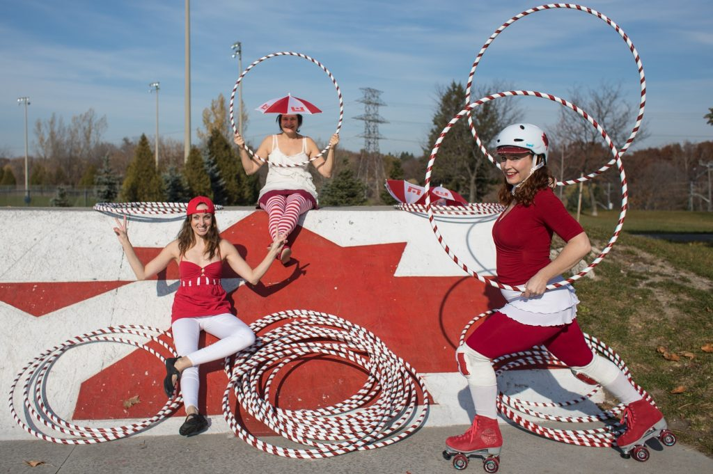 Canada 150 hula hoop characters