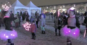 visual poi screen shot with Canada150 logo and glow tutus