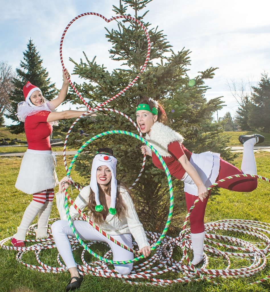 christmas holiday elf hoop performers
