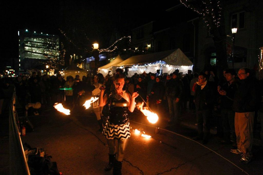 fire show duet hoop you with fire poi