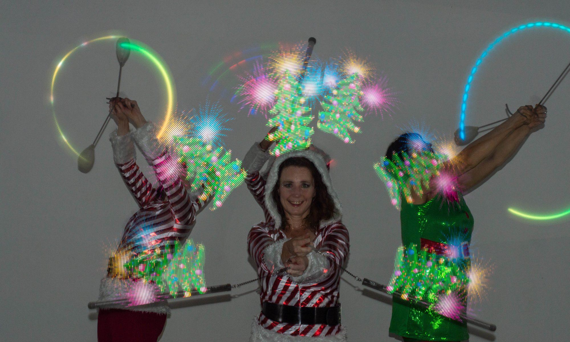 visual poi glow light wand holiday dancers